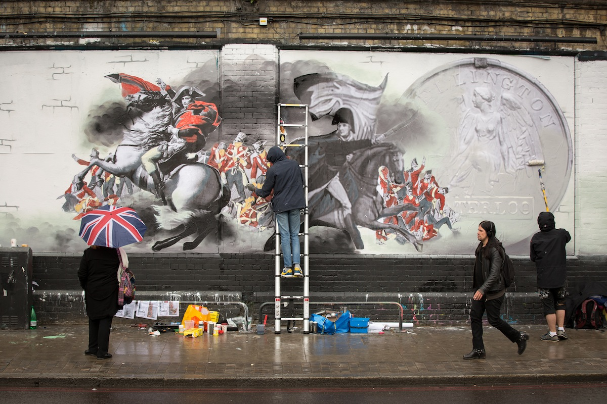 Passers-by in Shoreditch were treated today as the National Army Museum revealed a new piece of street art to mark the 200-year anniversary of the Battle of Waterloo on 18 June 2015. Representing British soldiers over the last 200 years, the art stands as a memorial of all the brave men and women who have served Britain since the Battle of Waterloo in 1815. To check out the Banksy-inspired street art, entitled 'The Returning Soldier' just pop along to Shoreditch Art Wall and share your #WaterlooLives pictures. More information about the Battle of Waterloo can be found at: www.waterloo200.org